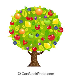 Fruit Tree, With Gradient Mesh, Vector Illustration
