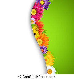 Colorful Gerbers Flower Border, With Gradient Mesh, Vector...