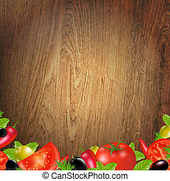 Wood Background With Vegetables