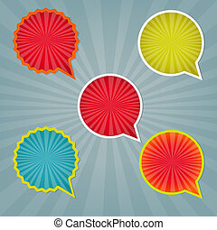 Colorful Stickers And Labels With Sunburst With Gradient...