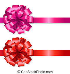 Silk Red And Pink Bows With Gradient Mesh, Isolated On White...