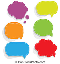Color Paper Speech Bubbles With Gradient Mesh, Vector...