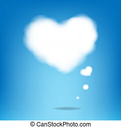 Cloud From Hearts With Blue Background With Gradient Mesh,...
