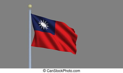 Flag of Taiwan waving in the wind with flagpole -with alpha...
