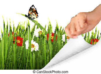 Spring background with flowers, grass and a hand. Vector.