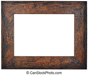 Empty Brown Wooden Frame Cutout - Empty Brown Wooden Picture...