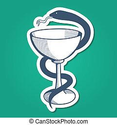 Medical emblem with goblet and snake. - Sketch sticker...
