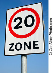 British 20 miles an hour limit zone sign
