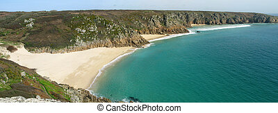 Panoramic view of Porthcurno beach, Cornwall UK.
