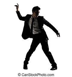 Silhouette of Asian businessman dancing or posing, isolated...