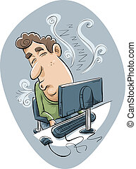 Office Nap - A cartoon man naps at his desk in front of his...