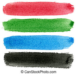 Red, green, blue and black watercolor paint.