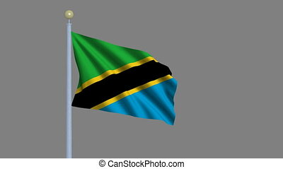 Flag of Tanzania waving in the wind with flagpole -with...
