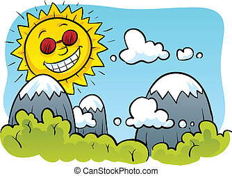 Happy Sun - A happy cartoon sun above mountains and trees.