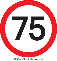 number 75 in a red circle