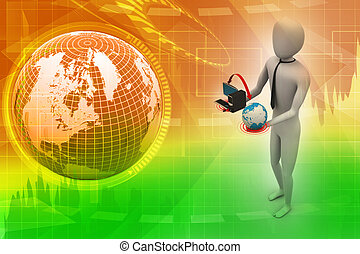 3d man with globe and computer
