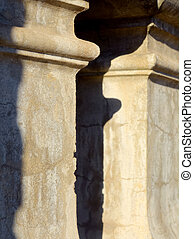 detail of a concrete pillar from a historic house in melbourne with selective focus