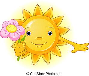 Summer Sun with flower - Cartoon Character of Cute Summer...
