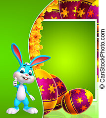 Easter bunny with big colorful egg - 3d rendered...