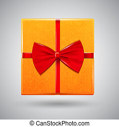 Present box with red glossy bow