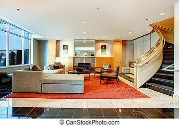 Apartment building main lobby area. - Elegant luxury...