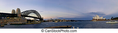 evening on the harbour - panorama at sunset showing harbour...