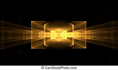 Golden Cubes Rotating, Perspective - abstract illustration...