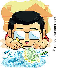 Cartoon of Boy Loves Drawing and Dood - A vector image of a...