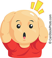 Cartoon of Funny Bald Kid - A vector image of a boy holding...