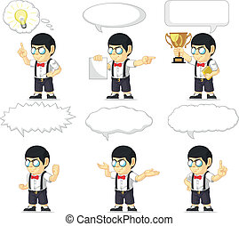 Nerd Boy Customizable Mascot 21 - A vector set of a nerdy...