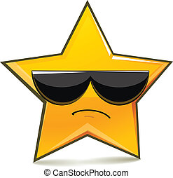 Serious funny star in sunglasses. Simple character