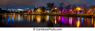 melbourne at night with colourful reflections in the yarra river