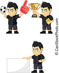 Spiky Rocker Boy Mascot 2 - A vector set of a rocker boy in...