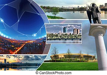 Collage of photos of the city Donetsk, Ukraine - The...