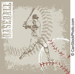 batter base ball crack paint - baseball sport illustration...