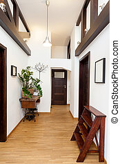 Hall in modern house - Hall in a white and brown modern...