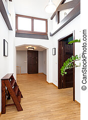 Interior of a story-house with attic, vertical
