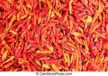 Dried red hot chillies texture background