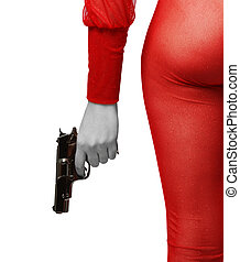 Female hand with pistol and sexy thigh in red - Female hip...