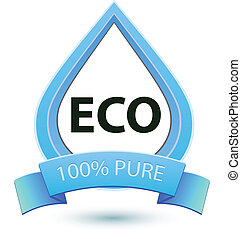 Eco water sign. 100% pure water icon template