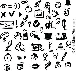 Hand drawing sketch icon set of many objects - Hand drawing...