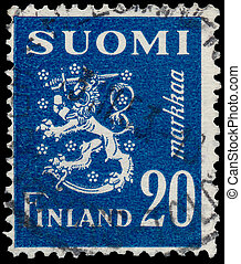 Stamp printed in Finland, shows Coat of arms - FINLAND -...