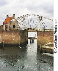 Bascule bridge and pierl in Heusden Netherlands