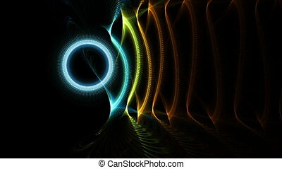 colorful wire circles in motion - Distorted colorful wire...