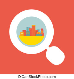 Illustration: a big city considered a magnifying glass -...