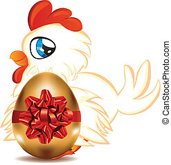 Hen with Golden Egg - Cute cartoon white hen with blue eyes...