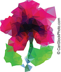Polygonal Purple Flower - Abstract purple flower with leaves...