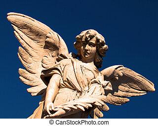 Angel in flight - Winged angel on dark blue background...