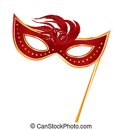 carnival masks - a red carnival mask with some feathers in...