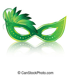 carnival masks - a green carnival masks with some feathers...